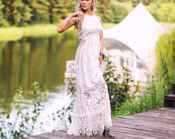 Boho Beach Wedding Dress Vintage Ivory Cotton Lace Country