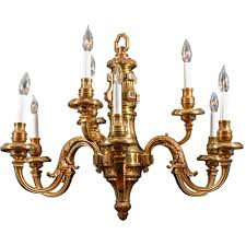 Nine Light Simple Georgian Cast Brass Chandelier For Sale