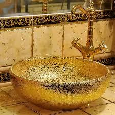gold rund zähler top porzellan waschbecken badezimmer waschbecken keramik arbeitsplatte badezimmer becken