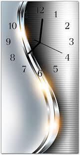 dekoglas glasuhr curven silber uhr aus echtglas eckig große motiv wanduhr 30x60 cm lautlos für wohnzimmer küche