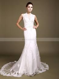 sleeveless v neck allover lace mermaid wedding dress 0113914