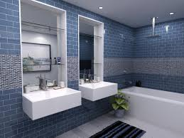 Blue Mosaic Bathroom Mirror by Bathroom Ideas Mosaic Detail Blue Subway Tile Bathroom With Built