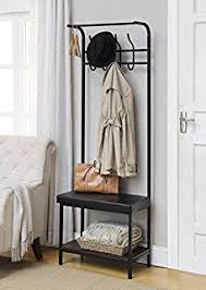 Black Metal And Bonded Leather Entryway Shoe Bench With Coat Rack Hall Tree Storage Organizer 8