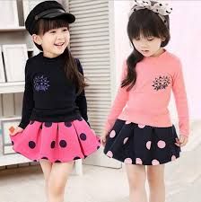 2016 New Kids Girl Long Sleeve Tees Polka Dots Pleated Skirt Baby Toddler 2pcs In Air Cotton Clothes Set Good Color Combination Clothing Sets From Mother