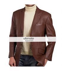 mens brown leather blazer jacket coat