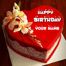 Beautiful Happy Birthday Cake With Name Editor line Free