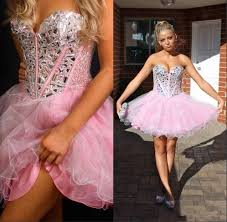 lace up knee length short pink prom dress for 17 years on luulla