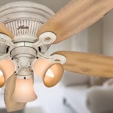 Exhale Ceiling Fan With Light by Shop Hunter Wellesley Low Profile 52 In Burnished Creme Flush