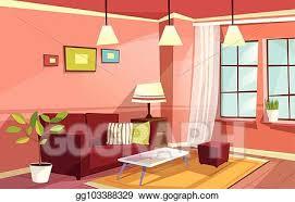 vektorkunst vektor karikatur wohnzimmer wohnung innere