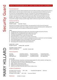 Security Resume Example Guard Template Mary Hillard