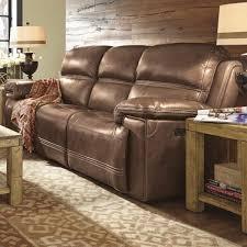 Flexsteel Fenwick Power Sofa With Headrest In Light Brown
