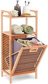 costway badregal mit wäschekorb badezimmer regal aus bambus korbregal mit 2 offenen regalfächern herausnehmbarer stoffeinsatz mit griff grau