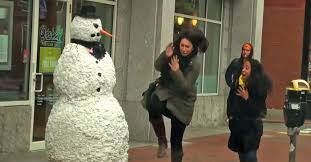 Halloween Scare Pranks 2013 by Cold Hearted Snowman Prank Scares The Snow Out Shoppers