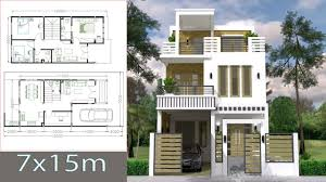 100 Home Dision 7x15m Simple Design Plan With 3 Bedrooms Sketchup Modeling House Plans
