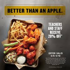 Teacher Appreciation Week Is Live! - Buffalo Wild Wings ... Buffalo Wild Wings Survey Recieve Code For Free Stuff Coupon Code Sweatblock Is Buffalo Wild Wings Open On Can You Use Lowes Coupons At Home Depot Gnc Discount How Much Are The Bath And Body Tuesday Specials New Deals Best Healthpicks Coupon Silvertip Tree Farm Coupons 1 Promo Codes Updates Prices September 2018 Sale Over Promo Motel 6 Colorado Springs National Chicken Wing Day 2019 Get Free Lasagna Freebies Discounts Game Food Find 12 Cafe Zupas Codes October