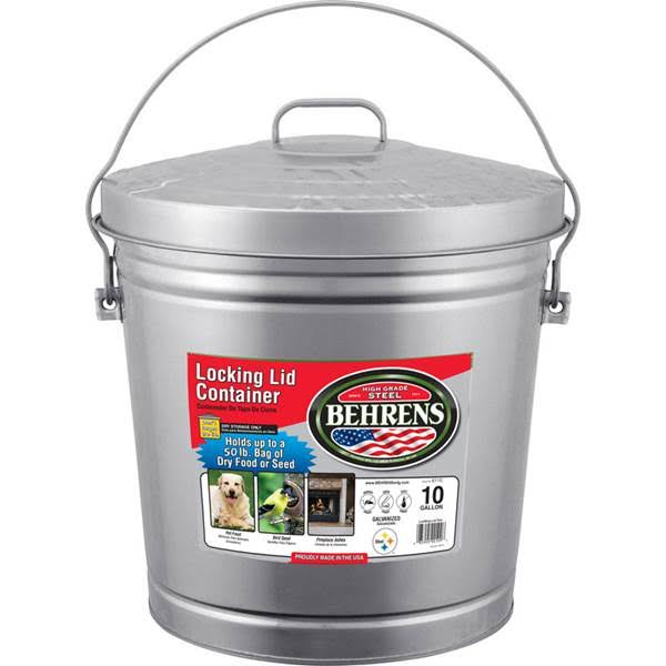 Behrens Locking Lid Container - Galvanized Steel, 37.8l