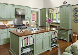 Vintage Hood And Butcher Block Countertop For English Country Kitchen Ideas With Pastel Green Cabinet Design