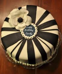 Round white birthday cake with chocolate bands and white flower and message on top JPG