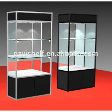 Light Up Glass Display Case Wooden Jewelry Stand Wall Shelf With Sliding