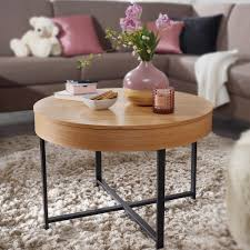wohnling design couchtisch rund ø 69 cm mit eichen optik tisch mit stauraum lounge wohnzimmertisch mit metallbeine mdf beistelltisch