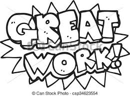 Black And White Cartoon Great Work Symbol Vector