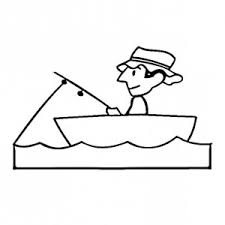 Fisherman Patience Waiting For Fish Coloring Page