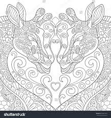 Zentangle Stylized Two Cartoon Lovely Giraffes With A Heart Sketch For Adult Antistress Coloring Page
