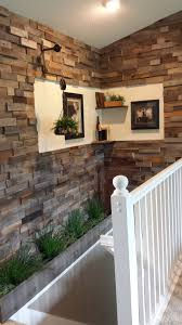 Faux Stacked Stone Wall Made Of Barn Board And Pallets. | ❤ Rooms ... Barn Board Wall Patina Scroll Down To See 12 Stacked Wood Feature Wall For Alluring Home Wood Paneling Best House Design Longleaf Lumber Weathered Wallpaper Decomurale Inc Sconce Sconces Arch Beams Over Doorways Bnboard Earlier Powderroom With Barnwood Accent Vanity From Antique Baby Squires Interrupt A Day Of Building Home Remodel Stiltskin Studios Pallet Using Amy Howard Paints Front Best 25 Ideas On Pinterest Distressed