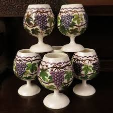 My Grandmother Hand Painted And Fired These Ceramic Goblets Back In The Late They Have A Beautiful Grape Vine Raised Pattern All Around