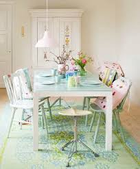 Pretty Shabby Chic Dining Room With Armoire And Table Painted Chairs Area Rug