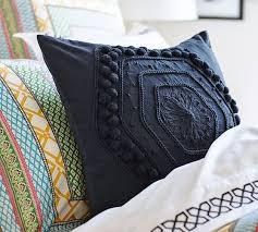Pom Pom Embroidered Pillow Cover