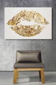 Gold Glitter Lips Canvas Art Cute For A Bathroom Or Above Bed