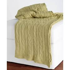 Rizzy Home Bedding by Rizzy Home Cable Knit Cotton Luxury Sweater Throw Blanket