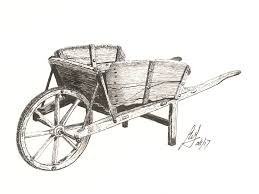 """Wheelbarrow"" A Pen drawing of an old wooden wheelbarrow"