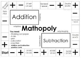 Mathopoly Addition And Subtraction Board Game Template Free