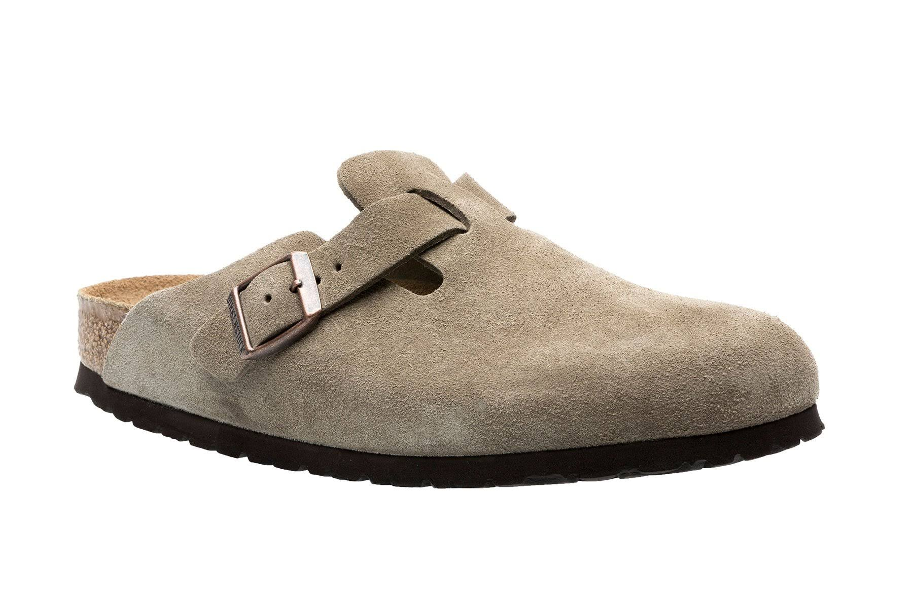 Birkenstock Taupe Suede Boston Soft Footbed Clogs