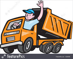 Dump Truck Driver Waving Cartoon Stock Illustration I4348356 At ...