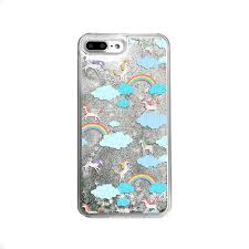 Unicorns And Rainbows Silver Glitter Phone Case
