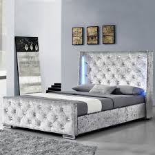 modern silver crushed velvet bed frame with led lights double
