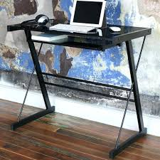 hartleys black glass computer desk with shelves staples tempered