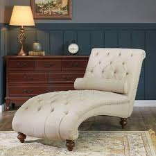 Beige Chaise Lounge Chair Sofa Daybed Curved Lounger Tufted Bedroom Living  Room
