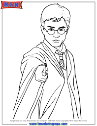 Harry Potter Holding Magic Wand Coloring Page