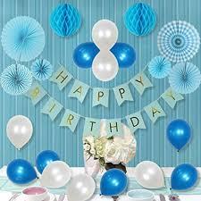 LITAUS 34 Pcs White And Blue Party Decorations For Boy Paper Fan Flower Happy