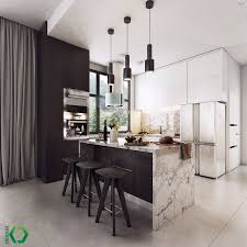 Luxury Kitchen Design With Black And White Color