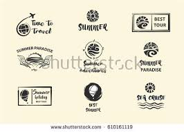 Set Of Nine Vector Sketch Black Logo Isolated On Light Background For Travel Agency With Text