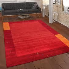 teppich handgewebt gabbeh qualität 100 wolle bordüre meliert in orange