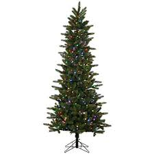 Vickerman Kennedy Fir Slim Artificial Christmas Tree With 500 Multi Colored LED Lights 75