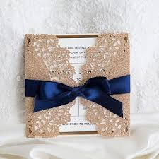 Luxury Rose Gold And Navy Blue Glitter Wedding Invites With Mirror Paper Bottom EWWS192