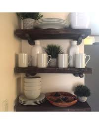 Espresso Industrial 725 Depth Floating Shelves Farmhouse Rustic Wood Pipe Shelf Bathroom Wall