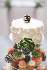Simple One Tier Wedding Cake With Succulent Decor